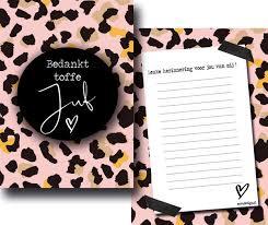 Ansichtkaart Bedankt toffe juf, leopard roze