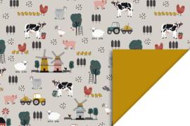 Dubbelzijdig inpakpapier farm/kinderboerderij