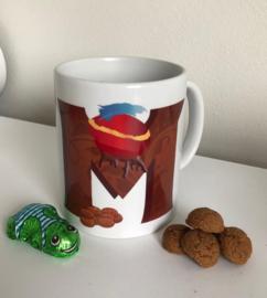 mok met chocoladeletter met pietenbaret; Sinterklaasmok