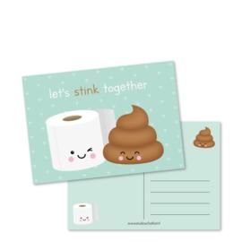 Ansichtkaart Let's stink together