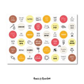 Stickervel camping,  48 ronde (sluit)stickers