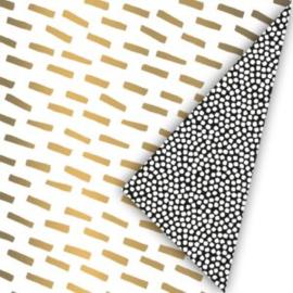 Cadeaupapier open spaces goud/zwart/wit inpakpapier