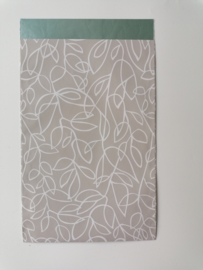 cadeauzakje zandkleur fine fleurs   12 x 19 cm