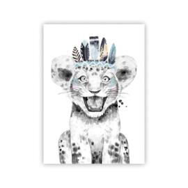 A4 poster Lieve leeuw blauw