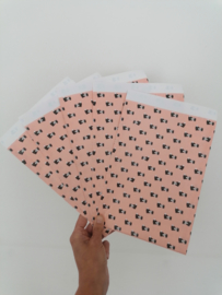 Roze cadeauzakje vol vosjes, fox 15x22 cm (L)