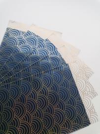 cadeauzakje Ocean waves blauw-goud 12 x 19 cm