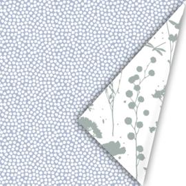 Inpakpapier spring cubes blauw/salie