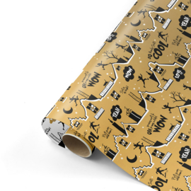Dubbelzijdig cadeaupapier Cool Sint goud 50x300 cm