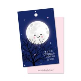 Cadeaulabel zie de maan schijnt door de bomen