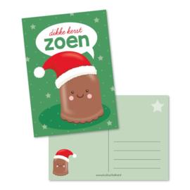 Ansichtkaart dikke kerstzoen
