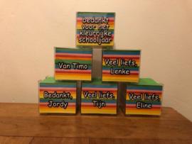 Bedankt voor het kleurrijke schooljaar , kubus memoblaadjes