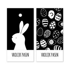 Cadeaukaartje vrolijk Pasen, zwart/wit