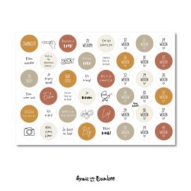 Stickervel zwanger, 48 ronde (sluit)stickers
