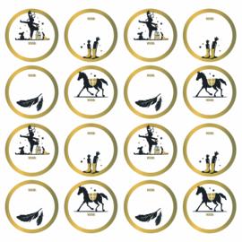 Set van 10 ronde sintcadeau sluitstickers goud randje
