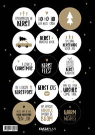 Stickervel Kerst 2020, 15 ronde sluit/cadeaustickers