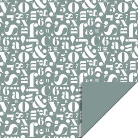 Dubbelzijdig cadeaupapier cijfers en letters groen 70x 200 cm