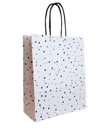 witte papieren tasje met zwarte stippen - dots