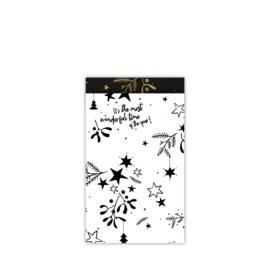 cadeauzakje mistletoe kisses  zwart/wit 12 x 19 cm