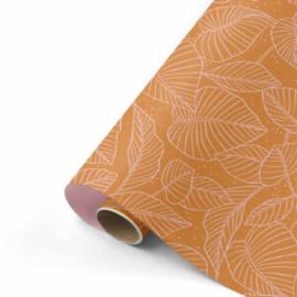 Dubbelzijdig inpakpapier Lovely Leaves roest/roze  50x 300 cm