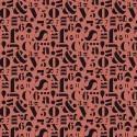 Cadeaupapier cijfers en letters rood (brick red) 70x 200 cm