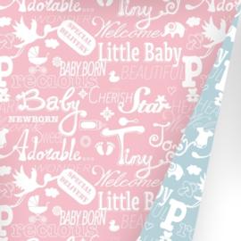 Inpakpapier chalkboard één zijde rose met witte babytermen en afbeeldingen en de andere zijde blauw