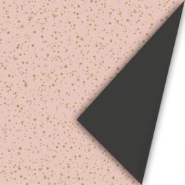 Dubbelzijdig cadeaupapier Twinkling stars roze/goud/zwart 50x300 cm