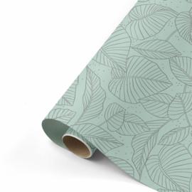 Dubbelzijdig inpakpapier Lovely Leaves salie/antraciet  50x 300 cm
