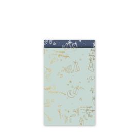 cadeauzakje  Sing a long Sint, mint/goud/blauw 12 x 19 cm