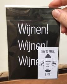 zelfklevend wijnetiket 'Als ik een troetelbeertje was + ansichtkaart wijnen, Mama Drinkt Wijn