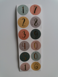 Set van 12 ronde cijfer sluitstickers