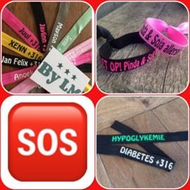 s.o.s. bandje, armbandje met naam en telefoonnummer SOS