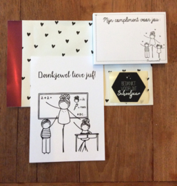 cadeauzakje met kaart, complimentblokje en sluitzegel voor de juf (DL)