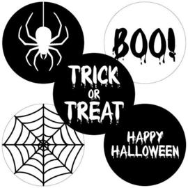 Set van 5 ronde Halloween stickers