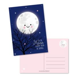 Ansichtkaart, zie de maan schijnt door de bomen |