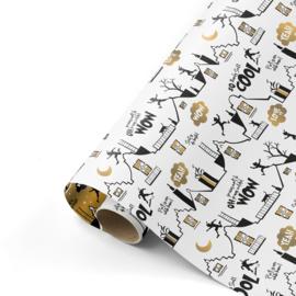 Dubbelzijdig cadeaupapier Cool Sint wit 50x300 cm