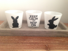 keep calm and hop on, waxinelichtje voor Pasen