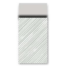 cadeauzakje salie/grijs schuine streep  12 x 19 cm