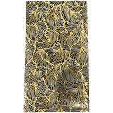 cadeauzakje zwart met goudkleurig dessin van bladnerven 15x22 cm (L)