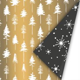 Dubbelzijdig inpakpapier lovely trees goud/zwart/wit