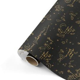 Dubbelzijdig cadeaupapier Sing along Sint zwart/goud 50x300 cm