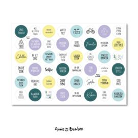 Stickervel cadeaustickers Thuis met  48 ronde (sluit)stickers