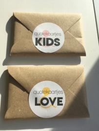 set van 25 quotekaartjes love en/of kids  ideaal voor de invulboeken
