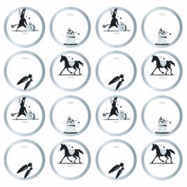 Set van 10 ronde sintcadeau sluitstickers zilver randje