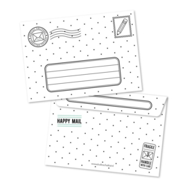 Zwart/wit A6 enveloppe, happy mail for you