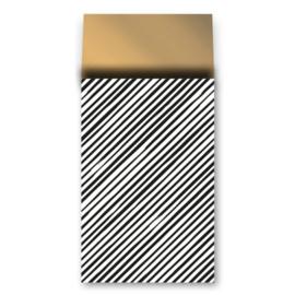 cadeauzakje zwart/wit schuine streep met gouden binnenkant 17x27 cm