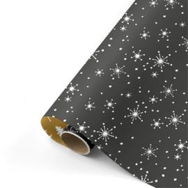 Dubbelzijdig inpakpapier reach for the stars zwart/wit/goud  50 x 300 cm