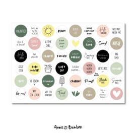 Stickervel vakantie,  48 ronde (sluit)stickers