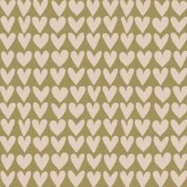 Cadeaupapier Love - Olive Green / Beige 70x 300 cm
