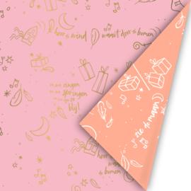Dubbelzijdig cadeaupapier Sing along Sint roze/goud