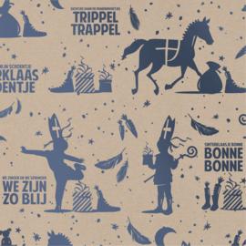 Cadeaupapier Sing along Sint kraft met metallic blauw opdruk